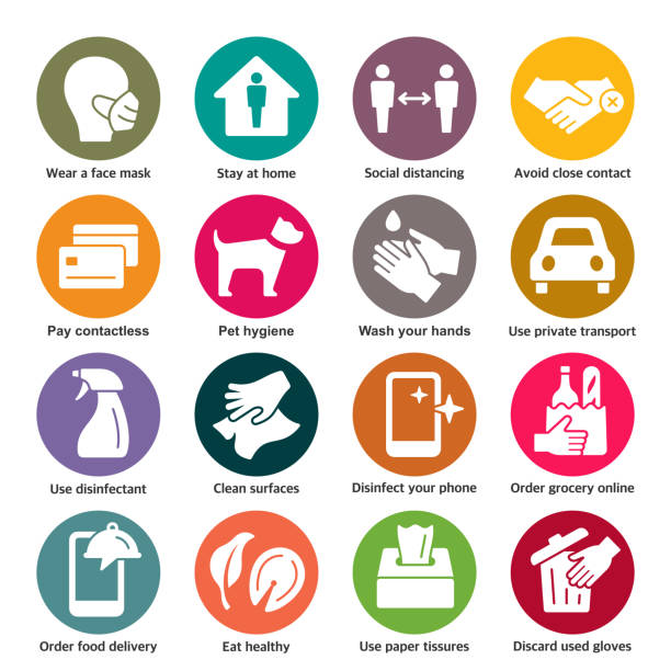 COVID-19 prevention vector icons Coronavirus spreading prevention colorful vector icon set covid icon stock illustrations