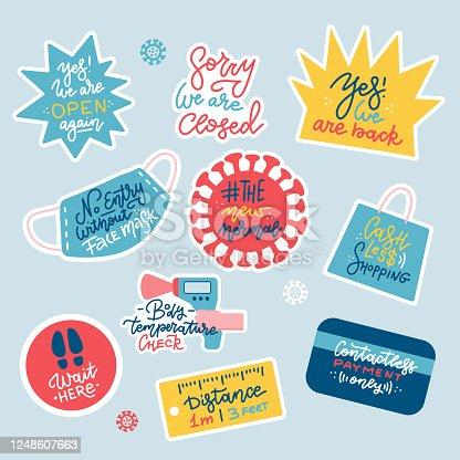 Prevention warning stickers set with coronavirus covid-19 measures. Wear face mask, keep safe distance, requirement for public place, contactless payment store, shop. Flat handdrawn Vector design.