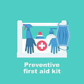 Preventive first aid kit. Disinfectant antibacterial equipment. Healthcare concept. Vector illustration flat design. Coronavirus protection. Spray mask liquid soap and antiseptic as symbol of hygiene.