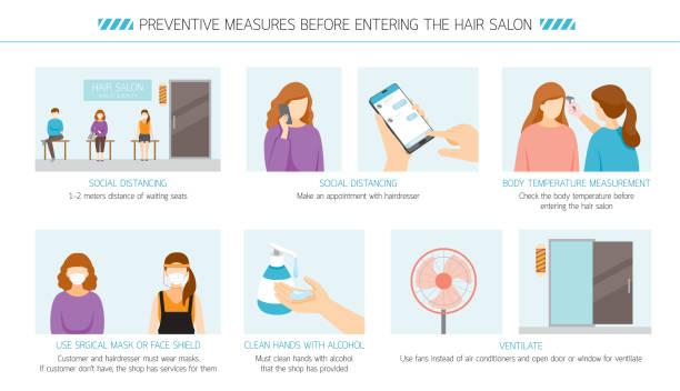 illustrazioni stock, clip art, cartoni animati e icone di tendenza di preventive measures before entering the hair salon - new normal