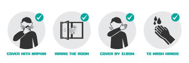 illustrazioni stock, clip art, cartoni animati e icone di tendenza di preventive measures icons for not getting sick and not spreading virus - hand on glass covid
