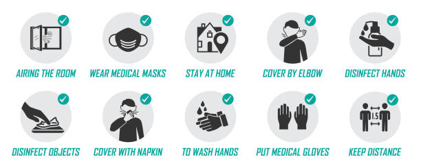 preventive measures icons for not getting sick and not spreading virus - coronavirus stock illustrations