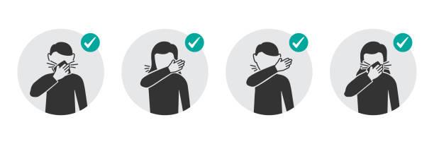 bildbanksillustrationer, clip art samt tecknat material och ikoner med förebyggande åtgärder ikoner hur man hosta och nysa och inte sprida virus - sneezing