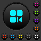 Previous component dark push buttons with color icons