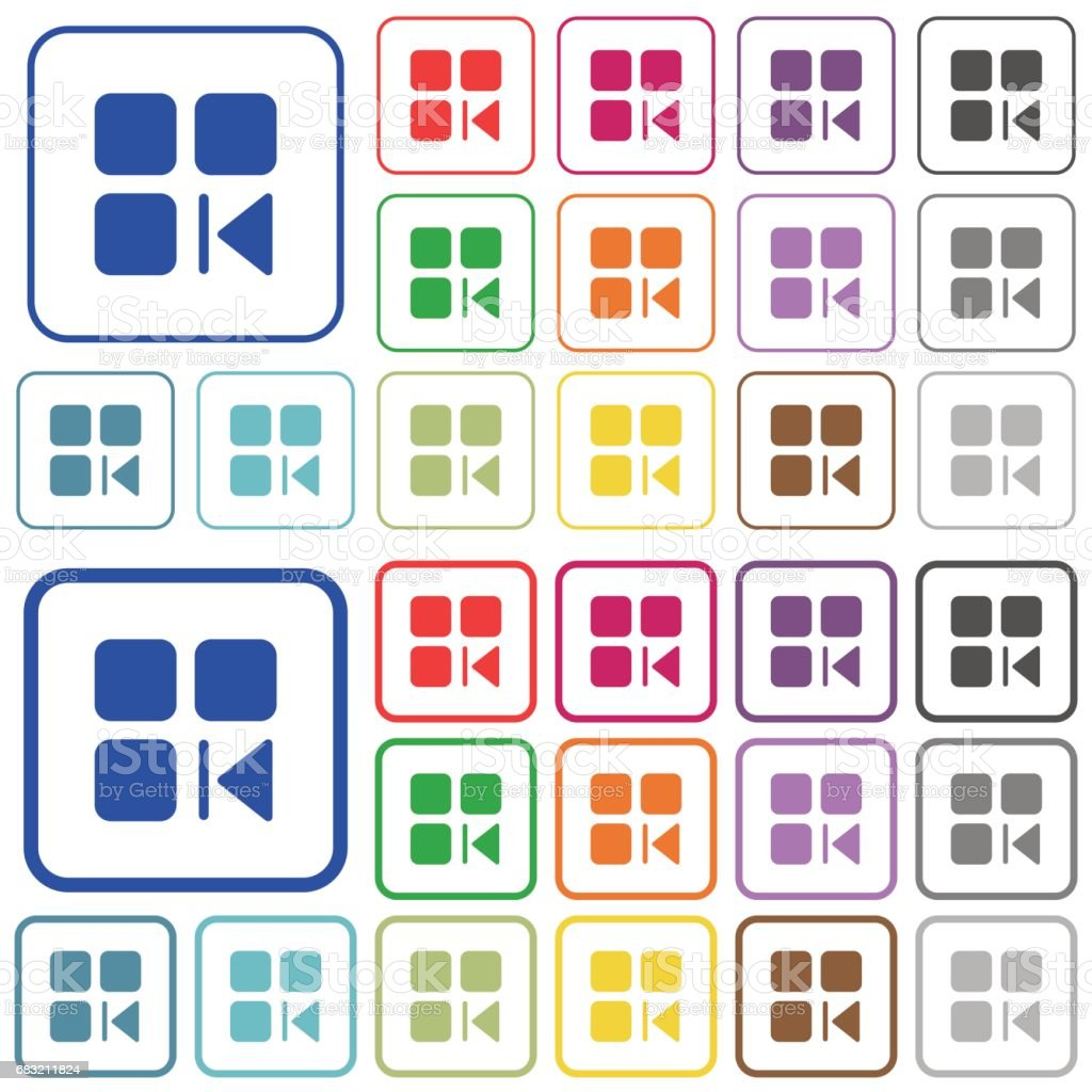 Previous component outlined flat color icons 免版稅 previous component outlined flat color icons 向量插圖及更多 一個物體 圖片