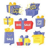 Price and Sale box set of vector Illustrations for web design
