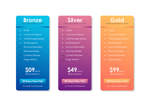 Price Comparison Table, Pricing table template for website, applications and business, subscription plans