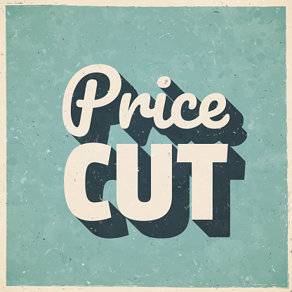 Price Cut. Icon in retro vintage style - Old textured paper