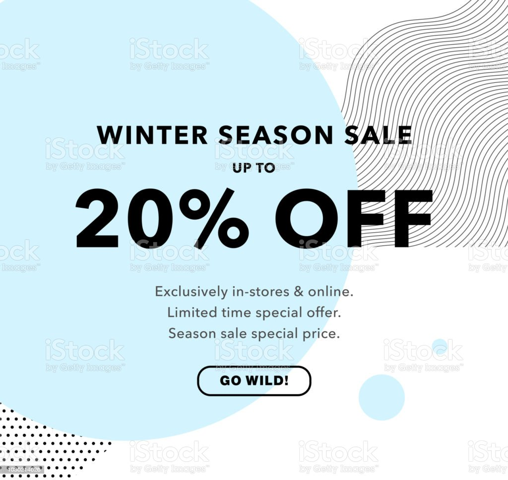 20 off price discount winter season sale promo banner 20 sale design