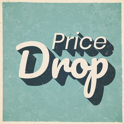 Price Drop. Icon in retro vintage style - Old textured paper