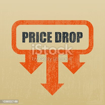 Vector of pride drop cost reduction icon with grunge textured. EPS Ai 10 file format.