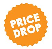 price drop stamp on white