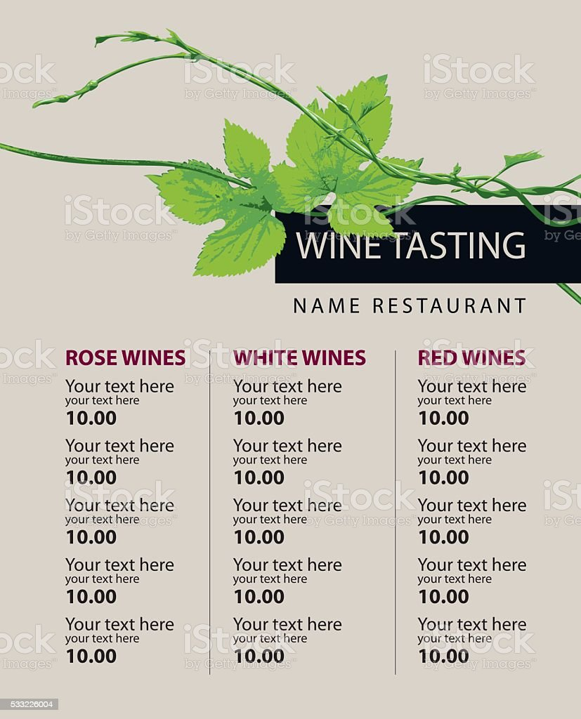 price list of wine vector art illustration