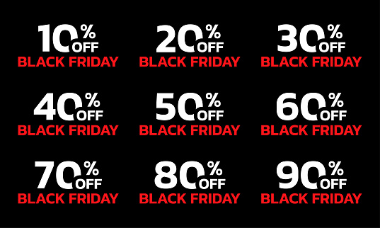 Price off label or badge set. Black Friday sale icons or tags with 10, 20, 30, 40, 50, 60, 70, 80, 90 percent discount. Vector illustration.