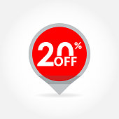 20% price off pointer or marker. Sale and discount tag icon. Vector illustration.