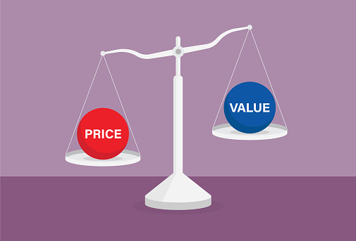 Price over value on the balance scale