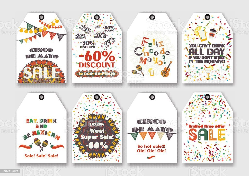Price sale tags set for Mexican holiday Cinco de Mayo. vector art illustration