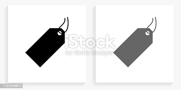 Price Tag Black and White Square Icon. This 100% royalty free vector illustration is featuring the square button with a drop shadow and the main icon is depicted in black and in grey for a roll-over effect.