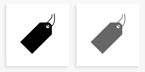 Price Tag Black and White Square Icon vector art illustration