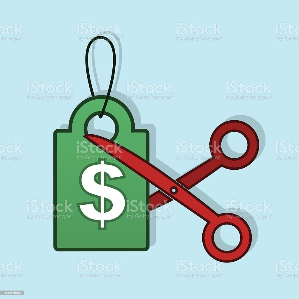 Price Tag Cut Scissors royalty-free price tag cut scissors stock vector art & more images of blade