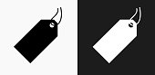 Price Tag Icon on Black and White Vector Backgrounds
