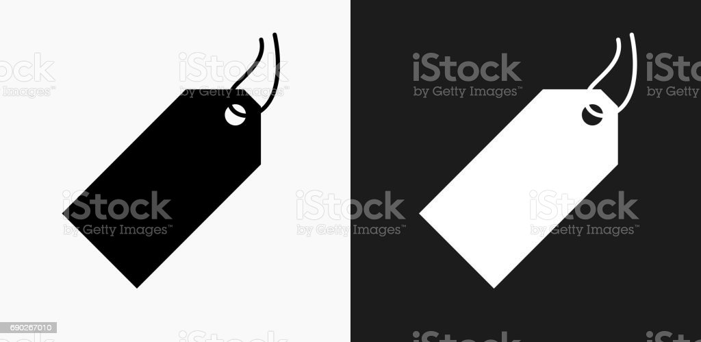 Price Tag Icon on Black and White Vector Backgrounds vector art illustration