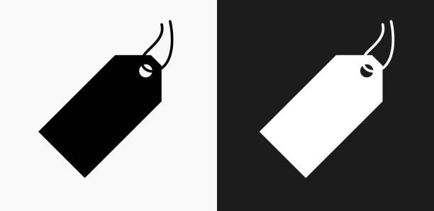 price tag icon on black and white vector backgrounds - przywieszka z ceną stock illustrations