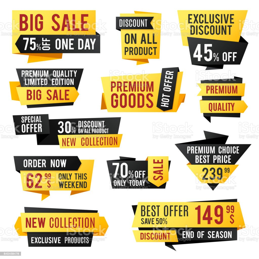 Price Tag Promo Banners And Discount Labels Business Presentation ...