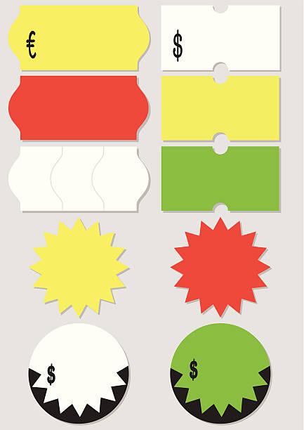 cena tag ilustracja wektorowa zestaw - przywieszka z ceną stock illustrations