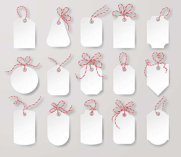Price tags and gift cards. Price tags and gift cards tied up with twine bows set.  vector EPS 10 illustration. label stock illustrations