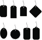 A vector illustration of blank price tags or labels.