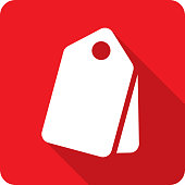 Vector illustration of a red price tags icon in flat style.