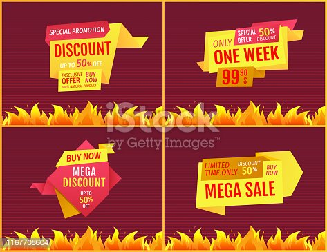Price tags set best discounts advertisements only one week sale, mega offers on geometric shape shopping labels. Vector retail emblems with fire flame