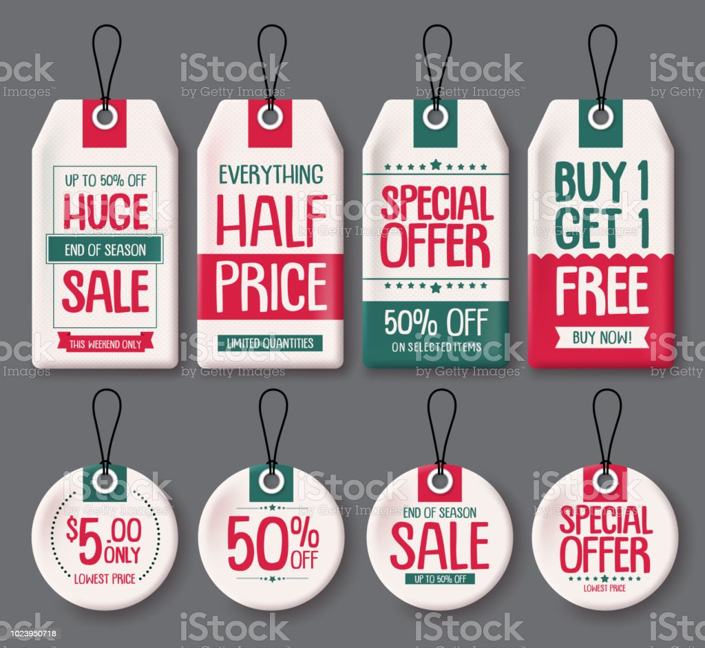 price tags template vector set white paper sale tags with huge sale