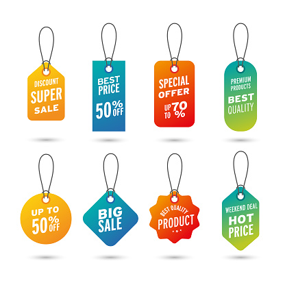 Price tags vector collection. Sale banners isolated. New collection offers sticker designs