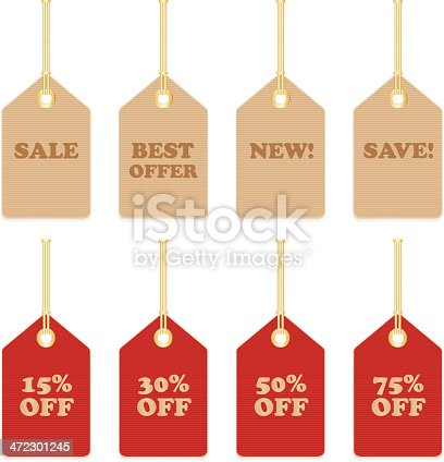 Set of paper sale price tags in natural and red color.
