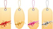 EPS 10  Vector illustration of price tags with bows. Used transparency and blending mode.