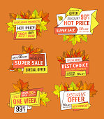 Prices off on Thanksgiving day, exclusive offer buy now labels with maple and oak tree leaves. Vector autumn sale tags yellow foliage isolated emblems