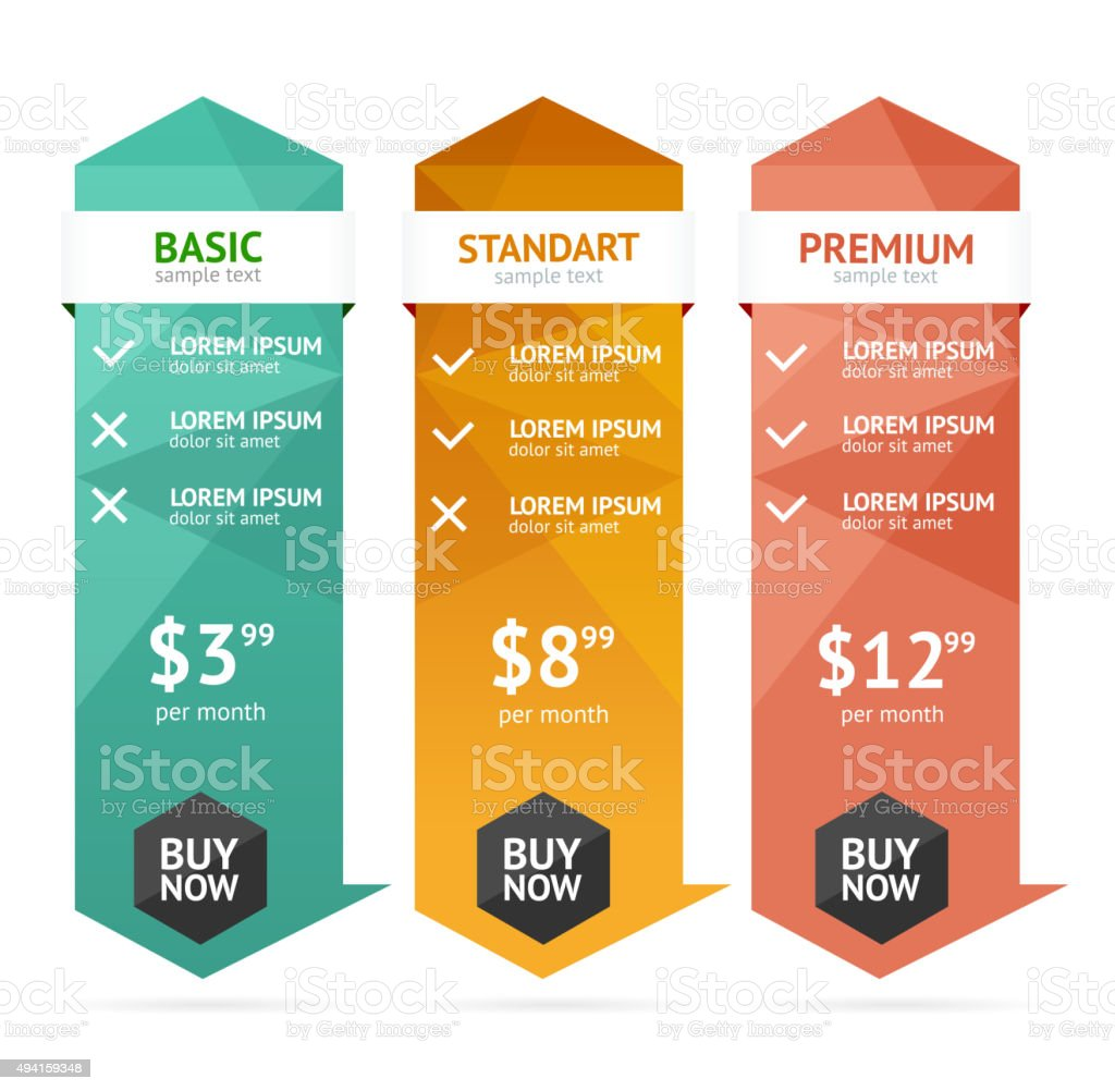 Pricing List. Vector vector art illustration