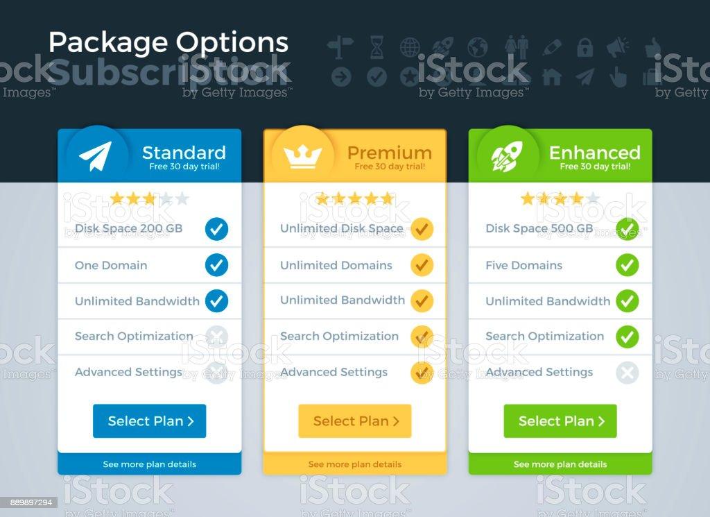 Preise und Pakete vergleichen – Vektorgrafik