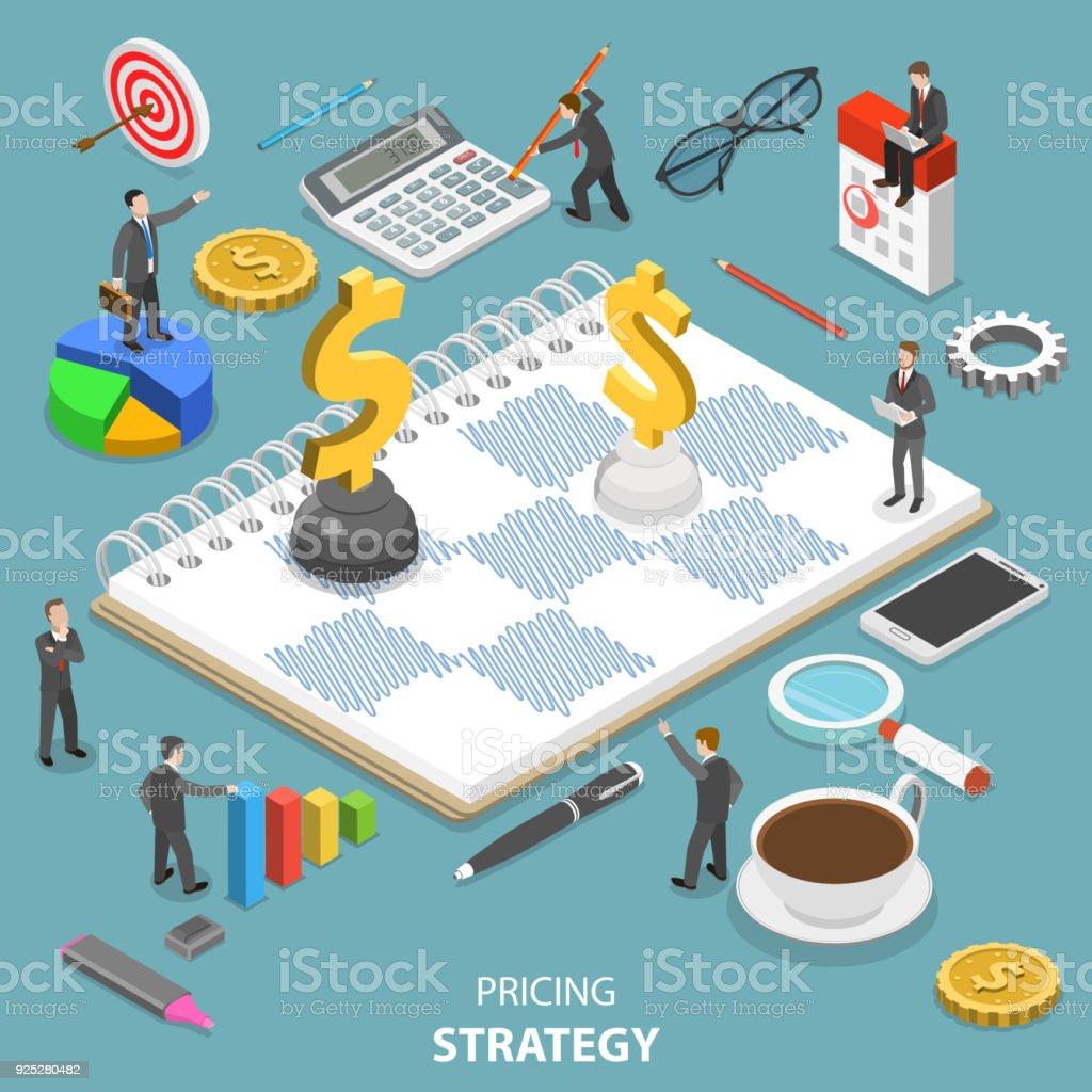 Preisstrategie flach isometrische Vektor-Konzept. – Vektorgrafik