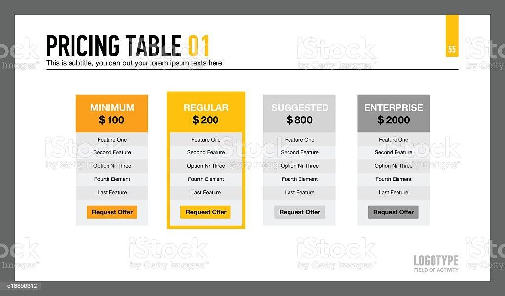 Pricing Table Presentation Slide vector art illustration
