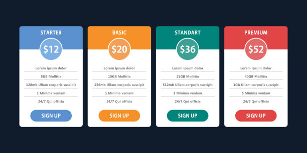pricing table template for business plan - pricing infographics stock illustrations, clip art, cartoons, & icons