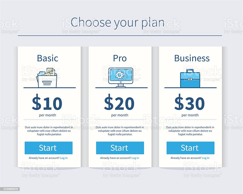 Pricing table template vector art illustration