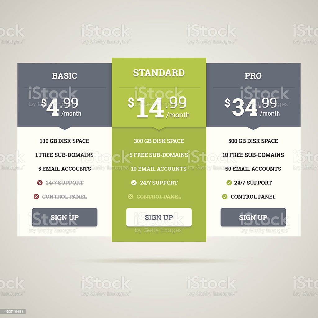 Pricing table vector art illustration