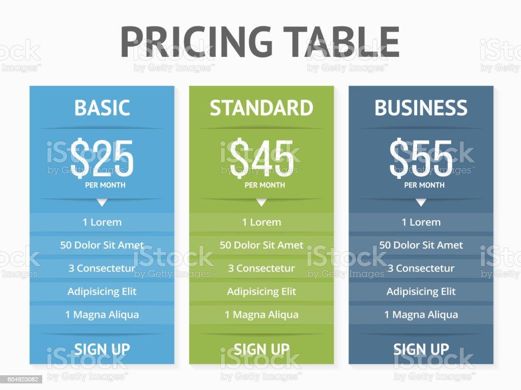 Preise Tisch  – Vektorgrafik