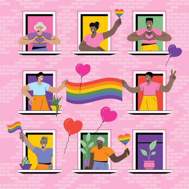 ilustrações, clipart, desenhos animados e ícones de orgulho lgbtq em casa - lgbt