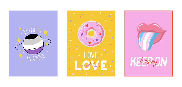 LGBTQ pride cards set. Beautiful and cute equality symbols and typography. Vector hand drawn illustrations and lettering.