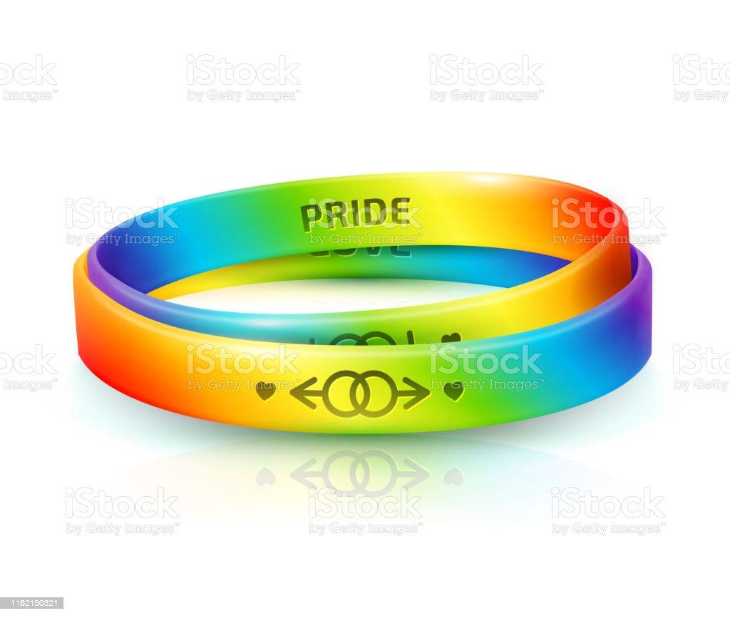 316a250017be Ilustración de Concepto Del Orgullo Lgbt Dos Brazaletes De Goma Arco ...