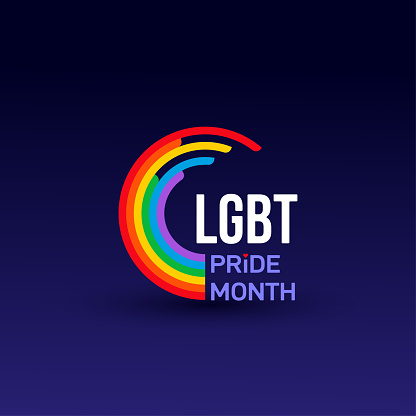 Pride design logo icon. LGBTQ related symbol in rainbow colors. Gay pride. Rainbow community pride month. Love, freedom, support, peace flat Symbol. Vector illustration Isolated on purple background.